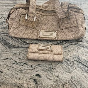 Guess Bag and Matching Wallet Beige Tan